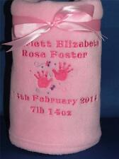 PERSONALISED BABY FLEECE BLANKET EMBROIDERED NEW BABY GIFT NAME DATE WEIGHT