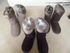 EX M&S SECRET SUPPORT MICROSUEDE FAUX FUR LINED FITTED SLIPPER BOOTS SIZE 3