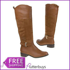 Womens Camel  knee high Boots Buckle Detail, Faux Suede Fur Leather Ladies Size