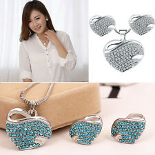 Hot Jewelry Crystal Rhinestone Heart Earring Necklace Set Fashion Korean Style
