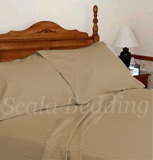 100% EGYPTIAN COTTON 1000-TC COMPLETE USA BEDDING SET TAUPE STRIPED ALL SIZES