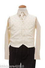 BOYS NEW 4 PIECE BLACK & CREAM WEDDING CHRISTENING PAGEBOY SUIT BIRTH - 8 YEARS