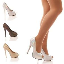 LADIES WOMENS PEEP TOE PARTY EVENING SHOE HOLOGRAM HIGH HEEL SHOES SIZE