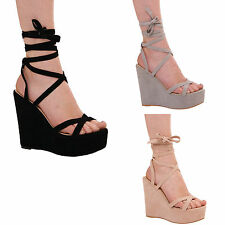 LADIES WOMENS WEDGE HIGH HEEL LACE UP STRAPPY SUMMER PARTY SANDALS FORMAL SHOES