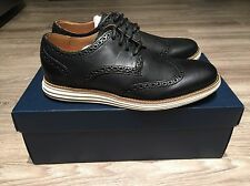 Cole Haan LunarGrand Long Wing Tip Leather Black Ivory Men's C14110 BRAND NEW