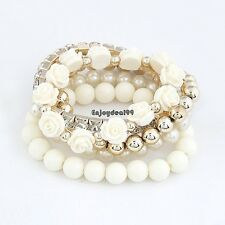 Mix Flower Beads Stretch Bracelet Temperament Alloy Resin Rhinestone Bangle OO55