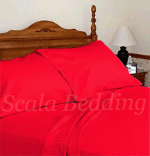 100% EGYPTIAN COTTON 1000-TC COMPLETE USA BEDDING SETS RED STRIPED ALL SIZES