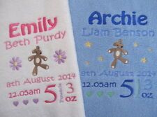 Personalised Baby Blanket - Embroidered Fleece  Teddy New Baby, Christening Gift