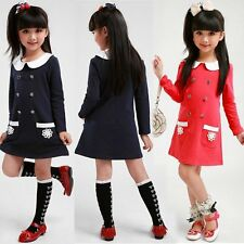 Double-breasted Doll Sleeve Long New Girls Kids Cute Dress Fashion Korean Collar