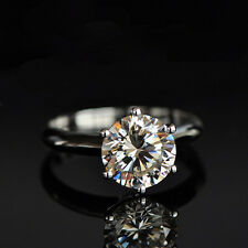 18K White Gold GP 2ct Solitaire Wedding ENGAGEMENT RING Swarovski S661
