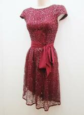 Suzi Chin Burgundy Red Lace Silver Sequin Beaded Cocktail Evening Dress