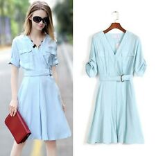Vogue Womens Ladies V Neck Slim Fit Blouse Shirt Skirt Knee Length OL Dress S-XL