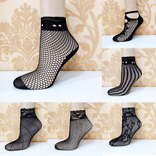 Sexy Women Lady Soft Black Lace Ruffle Fishnet Mesh Short Ankle Socks Stockings