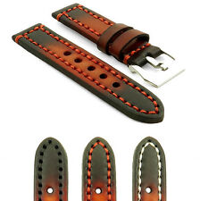 StrapsCo Thick Vintage Strap Watch Band in Rust w Heavy Duty Contrast Stitching