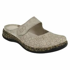 LADIES RIEKER 46395 PUNCHED DETAIL SLIP ON VELCRO STRAP CASUAL MULES CLOGS