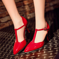 Patent Leather Mary Janes Pointed Toe High Heels Ankle Strap Womens Party Shoes