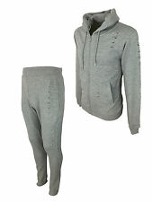 SALE £22 // King Kouture Mens Destroyed Slim Hooded Tracksuit in Grey Size Small