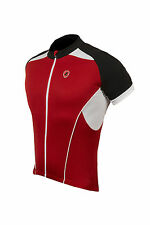 Lusso Mens Linea Short Sleeved Jersey Cycling Black White Red NEW RRP £39.99