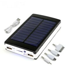 Solar Power Bank 12000mAh Dual USB LED External Mobile Phone Battery Charger