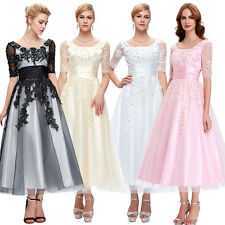 Applique + LACE Long Prom Dress GRAD Wedding Ball Formal Evening Gown Bridesmaid