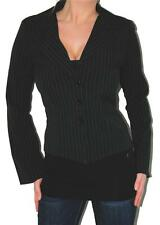 SEXY BLACK L/S CLEAVAGE BUTTON STRIPE BLAZER TOP NWT TRENDY CAREER JACKET TOP