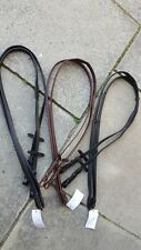 Reins leather padded english bridle horse black brown