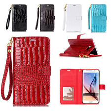 Fashion Crocodile Card Slot Wallet Flip PU Leather Phone Case Cover For Phones