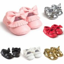 0-18M Infant Baby Girl Cute Soled PU Leather Bowknot Soft Shoes Toddler Moccasin
