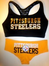 Victorias Secret Pink Pittsburgh Steelers Yoga Bra and Panty Set M or L Black