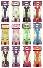 KID'S Polka Dot Clip-on  Elastic Suspenders + Bow-Tie Combo TODDLER BOYS GIRLS