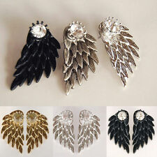 1pair Gothic Women Cool Fashion Angel Wings Rhinestone Alloy Drop Stud Earrings
