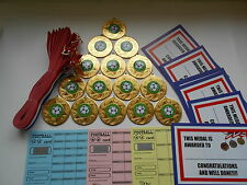 FOOTBALL  - 50 MM METAL MEDALS+RIBBON/SET= 15 WITH CERTIFICATES/SCRATCH CARDS