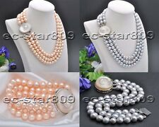 X0450 3Strds 10mm Gray Pink Round FW cultured Pearl Necklace Bracelet