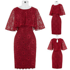 Red Lace Mother of the Bride Wedding Guest Outfits Formal Evening Dress Cocktail