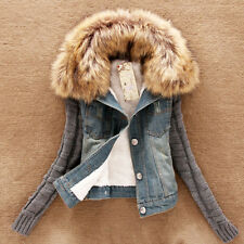 Womens Ladies Winter Warm COATS Faux Fur Collar CASUAL Denim Coat Tops Outerwear