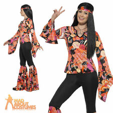 Ladies 1960s Hippy Costume Willow the Hippie Womens 1970s Fancy Dress Outfit New
