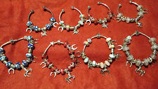 HORSE SHOE BRACELETS, WITH HORSE CHARMS, GOOD LUCK CHARMS.