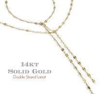 14K Gold Double Strand Lariat Necklace, Doube Strand Y Necklace