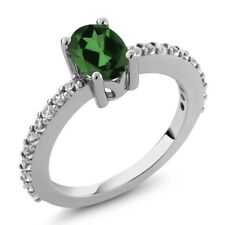 1.10 Ct Emerald Envy Mystic Topaz White Created Sapphire 925 Silver Ring