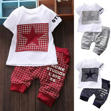 2Pcs Baby Kid Boys Trendy Short Sleeve Suit T-shirt Tops +Pants Outfits Clothes