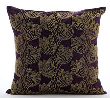 Purple Art Silk 45x45 cm Beaded Gold Tulips Flower Cushions Cover - Gold Tulips