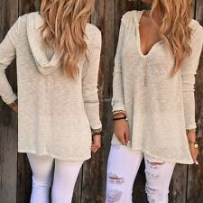 Women Casual Long Sleeve Hooded Pullover Loose Sweater Jumper Knitwear Top NC89