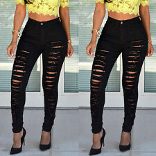 Sexy Women High Waisted Skinny Ripped Denim Pants Slim Pencil Jeans Trousers Hot