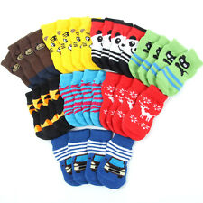 4Pcs/set Pet Dog Puppy Indoor Anti-slip Knit Weave Warm Cartoon Sock Skid Bottom