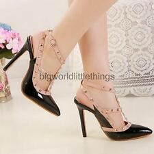 Women's Pointy Toe Slingback High Heels Spike Studded Strappy Buckle Pumps Shoes