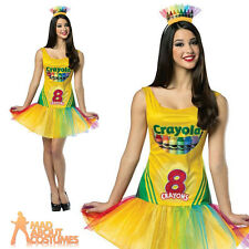 Adult Crayola Crayon Box Tutu Dress Costume Ladies Fancy Dress Outfit New