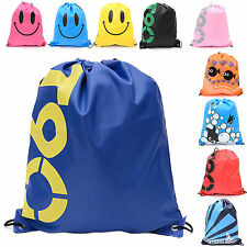 Bag Drawstring Backpack Waterproof School Sport Gym Swim Beach Girls Boys Duffle