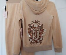 NWT JUICY COUTURE GLITTERY LOGO PLEATED HOODIE & JOGGER PANTS  SUIT BEIGE S; XL