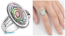 Sterling Silver 925 PRETTY OVAL DESIGN WITH ABALONE STONE RING SIZES 5-12