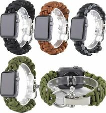 Nylon Rope Survival Watch Band Stainless Steel Adaptor For Apple Watch 38MM 42MM